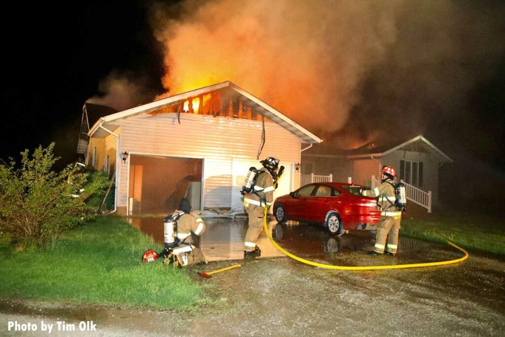 Flames and smoke roar from Danville, Iowa house fire