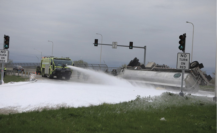 This crash rig is applying Class B foam at a tanker spill. Is the foam being applied appropriate for the spilled product? The Class B foam carried on many crash rigs is not alcohol resistant.