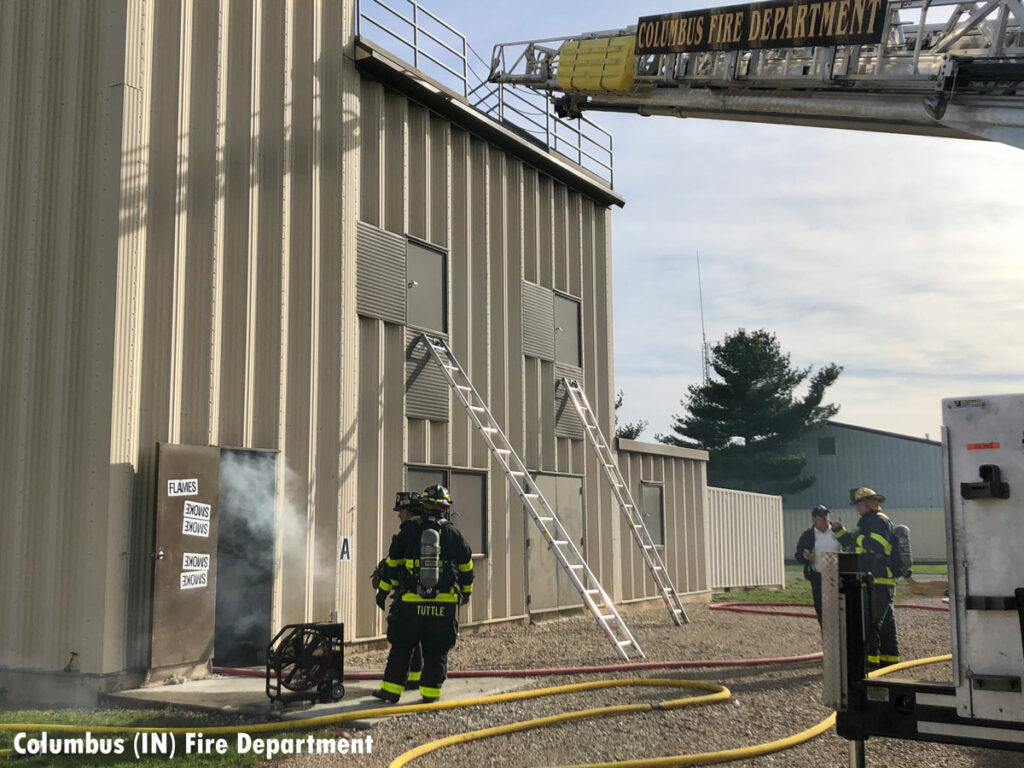 Firefighters undertake training with the Columbus Fire Department in Indiana