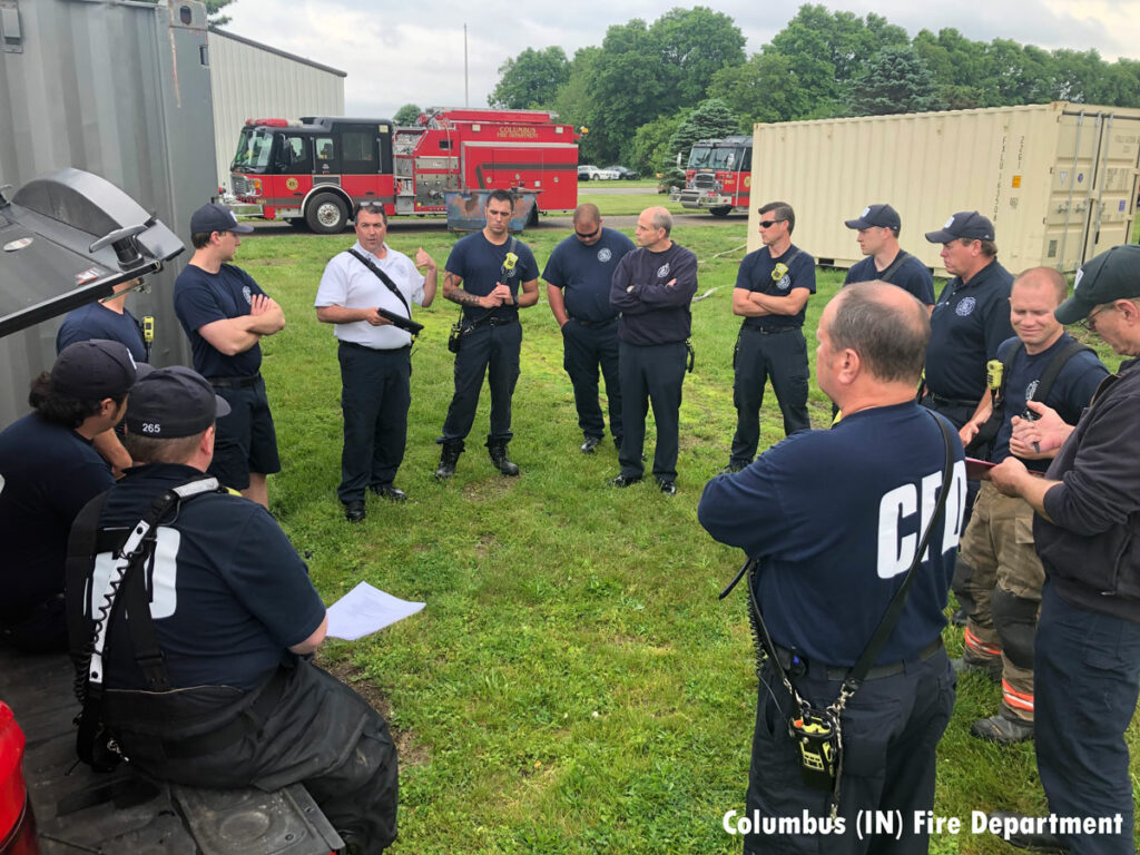 Firefighters during a training evolution in Columbus, Indiana