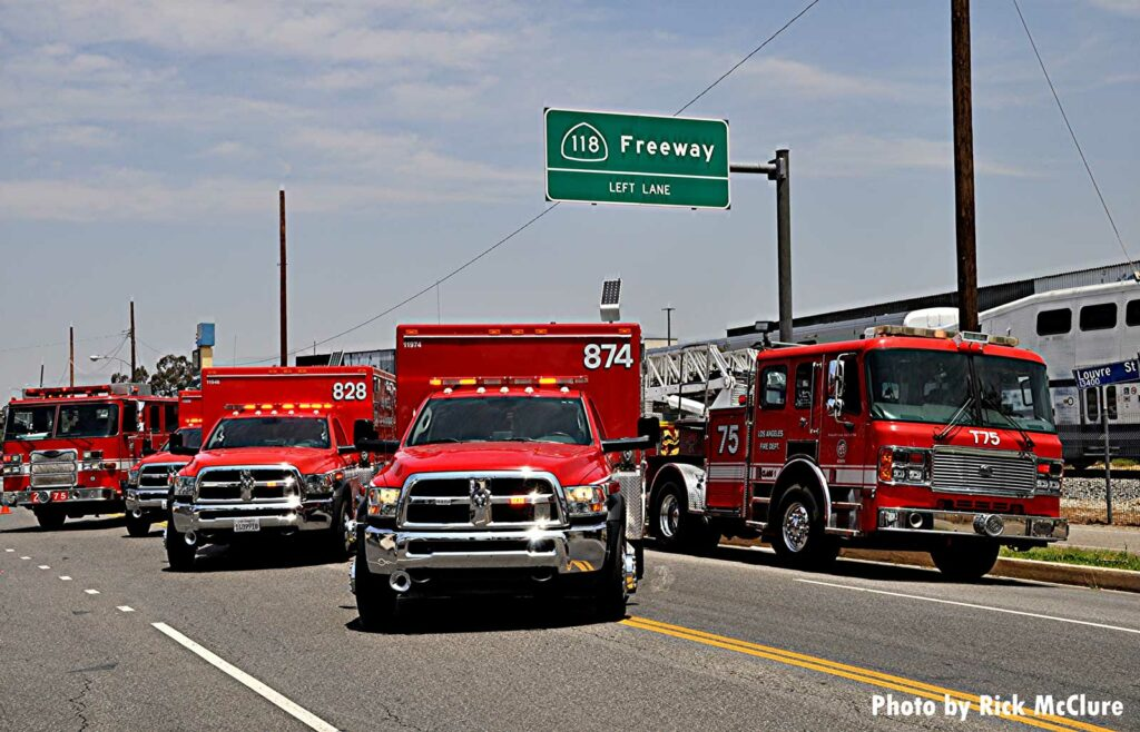 A LAFD rig along with multiple ambulances