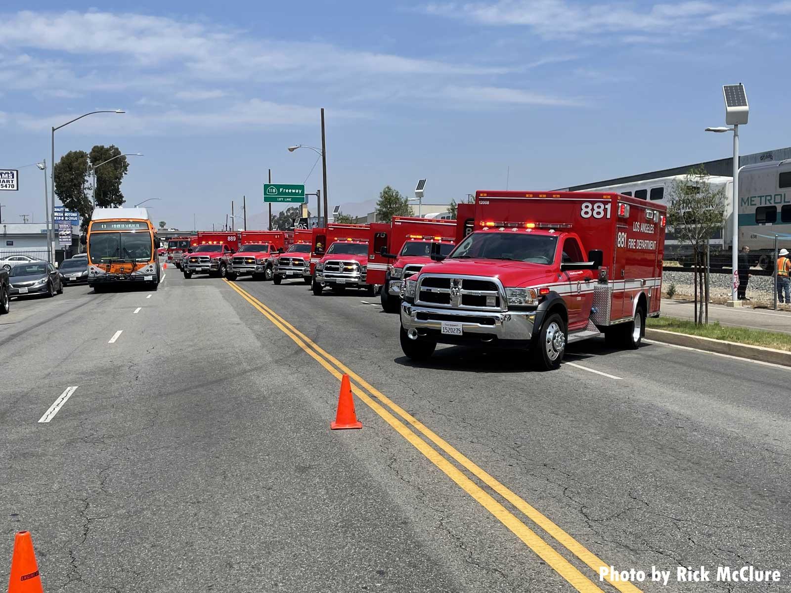 Multiple LAFD ambulances at scene