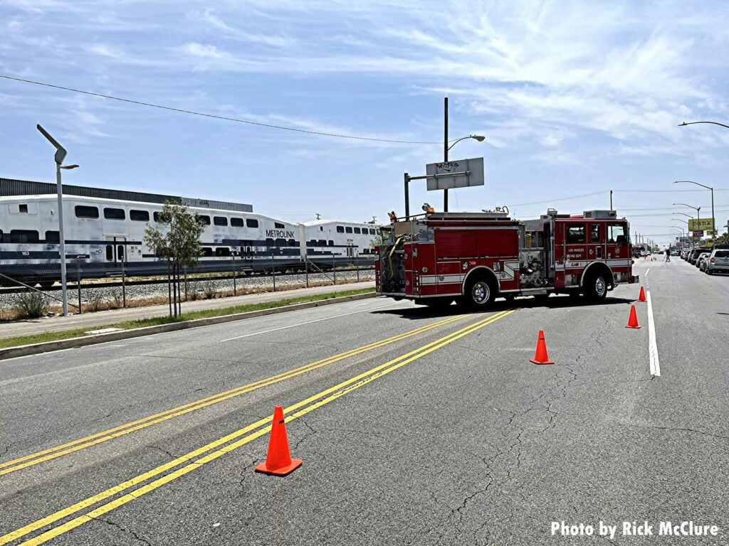 LAFD fire apparatus at railway incident