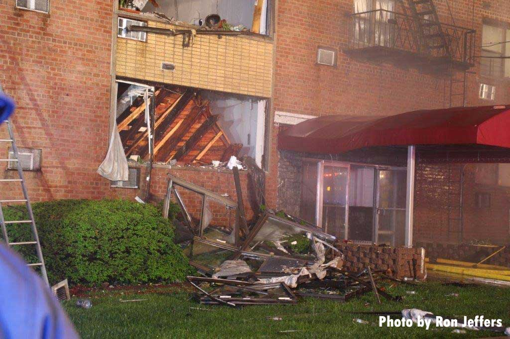 Shows interior pancake collapse on A side at Fort Lee apartment fire