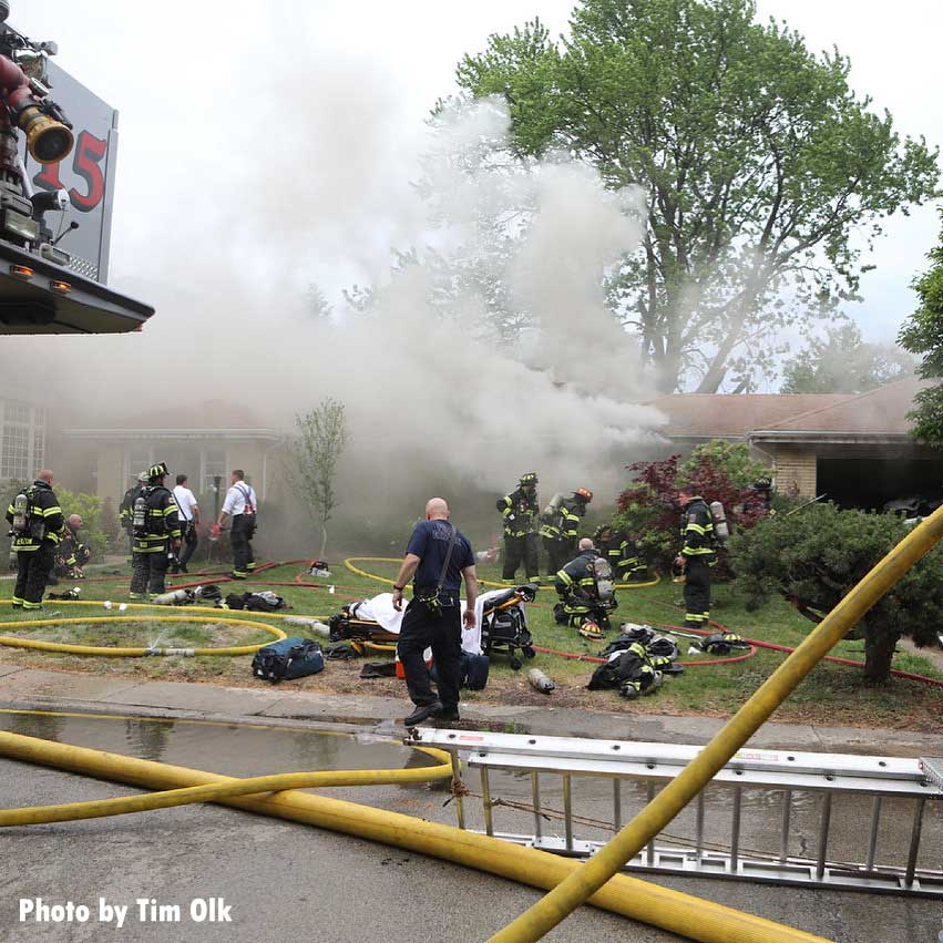 Firefighters responding to a house fire with hoarding in Lincolnwood, Illinois
