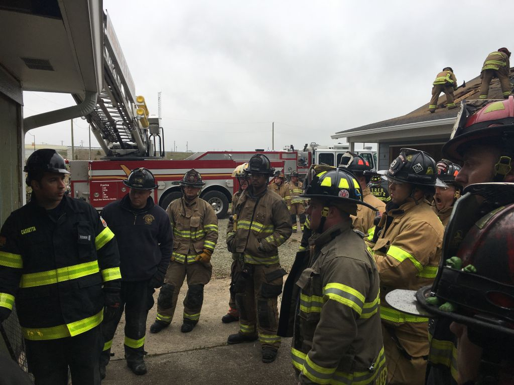 Firefighters at a training evolution at FDIC 2018
