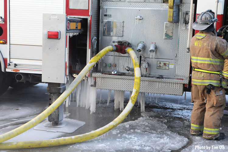 Ice on pump and fire hose
