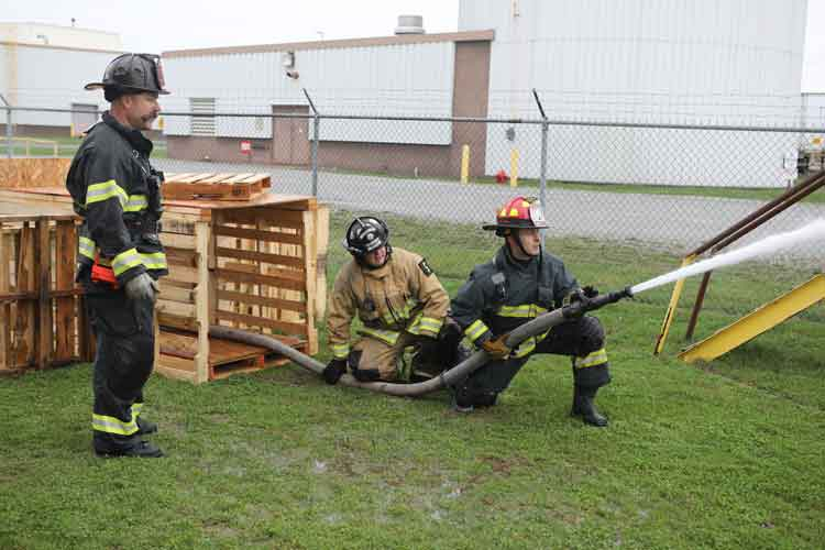 Firefighters training on hoselines